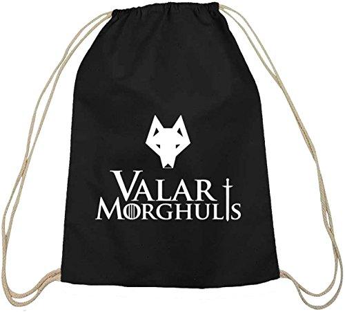 Shirtstreet24, Valar Moghulis Wolf, Baumwoll natur Turnbeutel Rucksack Sport Beutel schwarz natur