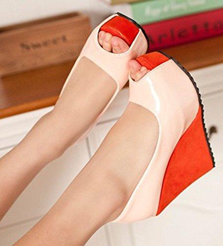Aisun Damen Sexy Peep Toe High Heels Plateau Keilabsatz Mehrfarbig Pumps Sandaletten Rosa