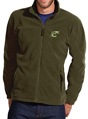 Angler Fleecejacke: Hecht - Geschenk für Angler - Jacke für Damen und Herren - Angler-Bekleidung - Angel-Kleidung - Outdoor - Fleece - Army - Fischer - Fish-ing - Camping - Survival Grün Oliv (XXL)