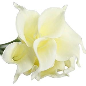 Da.Wa10X Flores Artificiales de Espuma Flor Simulación Ramo de Lirio de Cala Decoración para La Boda Fiesta(Blanco)