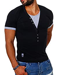CARISMA Herren Double Look T-Shirt Deep v-Neck Tiefer V-Ausschnitt Slim 210e3915f4