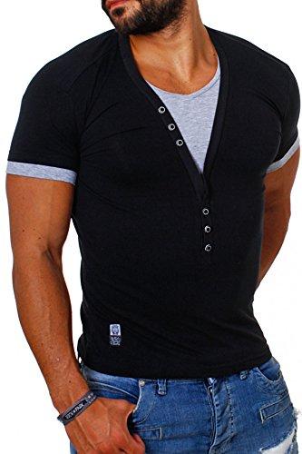 Großer Mann-shirt (Carisma Herren double Look T-Shirt deep v-neck tiefer V-Ausschnitt slim fit Kontrast Optik tee, Grösse:L;Farbe:Schwarz)