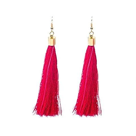 Earrings, Bestow Elegant Jewelry Women Bohemian Earrings Long Tassel Fringe Dangle Earrings (Hot Pink)