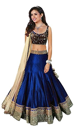 Varona Creation Women\'s Banglori Silk Embroidered Semi-Stitched Lehenga Choli Free Size (Blue)