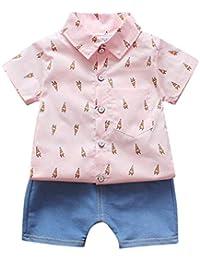 feiXIANG Abito Battesimo Compleanno Partito T-Shirt da Bambino Gentleman  Top + Denim Pantaloni Shorts Outfit Set di Vestiti 2PCS Bambini… 60d98749b1e