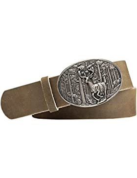 Jagd-Motiv Trachten-Leder-Gürtel mit Druckknopfriemen Vollrindleder Farbe: hellbraun