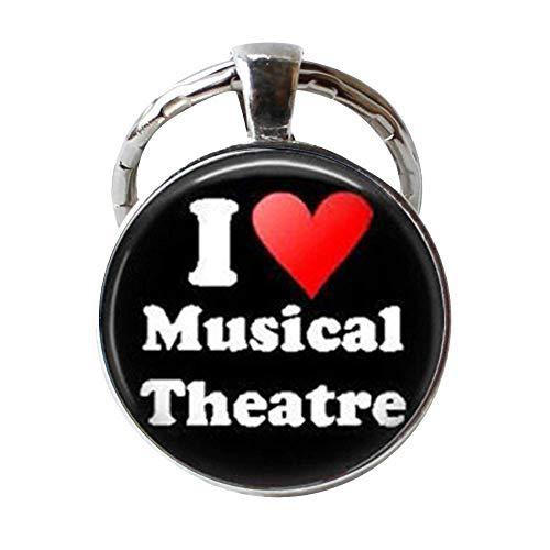 Schlüsselanhänger mit Musiktheater I Love Musical Theater, Broadway Musicals, Acting Art, Glas, Foto-Schmuck, personalisiertes Geschenk