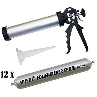 12 x 600ml Folienkleber EPDM Teichfolienkleber EPDM-Kleber + SCHLAUCHBEUTELPISTOLE 890P710EPDM12