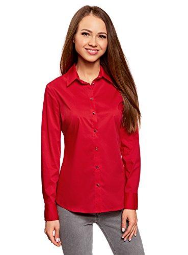 Oodji collection donna camicia in cotone con bottoni a pressione, rosso, it 46 / eu 42 / l