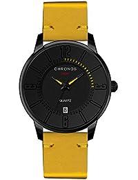 08a0fd8d4f28 Relojes Pulsera Unisex Ultrafino Escala del Numeral Árabe con Calendario  Cuarzo Relojes Hombre Correa de Cuero