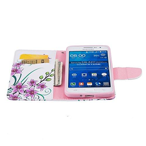Lederhülle für Samsung Galaxy Grand Prime G530, Zcro Schutzhülle Magnet Ultra Dünn Flip Wallet Handyhülle Ledertasche Case mit Kartenfach Frei Schwarz Eingabestift für Samsung Galaxy Grand Prime G530 (Blumen Schmetterling)