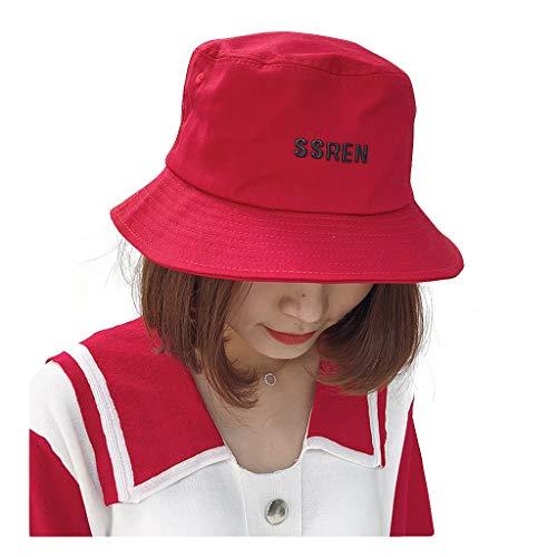 Rote Buchstaben-roter Fischer-Hut-weiblicher japanischer Straßen-einfacher Becken-Hut zufällige Wilde ()