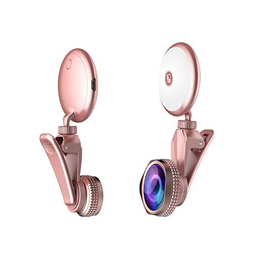 Selfie Ring Licht LED Circle Flash Füllen Lights Makro Objektiv Fisheye Weitwinkel Objektive Handy Laptop Kamera Fotografie Video Beleuchtung Clip für Beauty Haut Make-up Spiegel (Rose Gold)