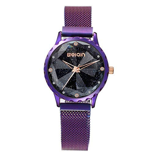 JohnJohnsen Weiqin Mode Uhr Magnet Uhr Damen Sternenhimmel Grid Band Uhr wasserdicht quarzuhr freizeituhr (schwarz)