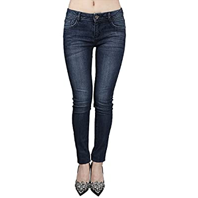 JNTworld Women Low Waist Blue Vintage Stretch Butt Lift Skinny Denim Jeans