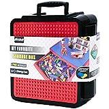 FidgetGear Medium Creative Brick Box,Multifunctional Kids Dustproof Box for Assembly Blocks Storage Black and red (Does not Include Blocks)