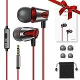 Kuulaa Wired In Ear Kopfhörer, Ear Ohrhörer Headphone Kopfhörer in Ears Headset Audio Kopfhörer Earphones mit Ohrstöpseln und Mikrofon für iPhone Samsung Huawei Sony Xiaomi 3.5mm Gerät etc (Rot)