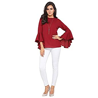Serein Women's Top (Maroon Moss top with Flute Sleeves) (X-Small)