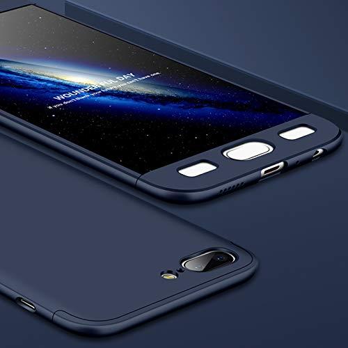 AChris Oneplus 5 Funda Phone Case con Vidrio Templado Pantalla Protector 3 en 1 Caso Cover Duro PC Thin Shockproof Anti Huella Digital- Azul