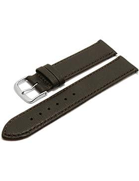 Meyhofer Uhrenarmband Neuss EASY-CLICK 18mm dunkelbraun Hirsch-Leder genarbt abgenäht Made in Germany My2fcml2022