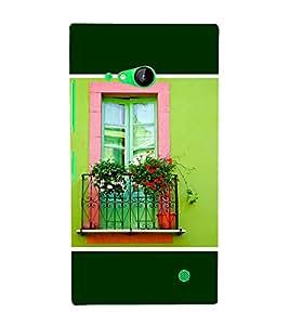 Takkloo Green background Balcony,flower pot, red flower, beautiful view of balcony) Printed Designer Back Case Cover for Nokia Lumia 730 Dual SIM :: Nokia Lumia 730 Dual SIM RM-1040