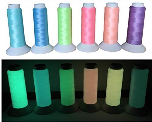 1000Meter Glow in The Dark Näh-Garn LeuchtGarn Schnur – Fluoreszierender Stickgarn – 100Gramm – Nachleuchtend/Leuchtet im Dunkeln – Nachtleuchtgarn – +12 Farben Auswahl+ (Gelb - Nr.6)