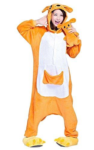 Emmarcon kigurumi pigiami animali canguro con peluche, costume carnevale cosplay halloween,materiale flanella, caldo e morbido,cerniera sul retro.-m/altezza 160-169cm,massimo 80kg.-canguro + peluche