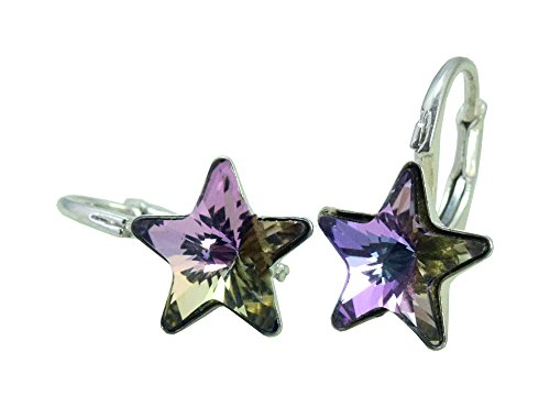 Durchmesser-leitung (Crystals & Stones *STERN* 6 Farben - Schön Ohrringe Mädchen Ohrhänger mit Kristallen von Swarovski Elements - Wunderbare Ohrringe mit Schmuckbox (Vitrail Light))