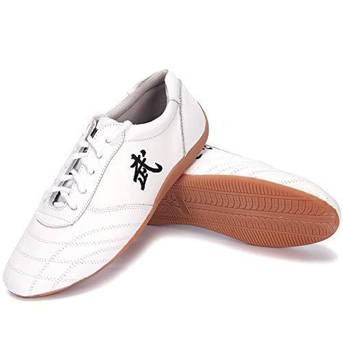 klassischer Unisex Tai Chi Kampfkunst Wudang Kung Fu Schuhe Karate Traditionelle Qigong Yongchun Coach Schuhe (38 EU, Blanc)