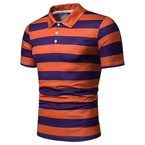 Celucke Polohemd Poloshirt Gestreift Herren Poloshirt Männer Basic Hemd Polo Shirt Kurzarm Slim Fit, Kurzarmhemd Sweatshirt T-Shirt Herrenhemden Marken Polohemden (Orange,L) - Button-down Polo Shirt Gestreift