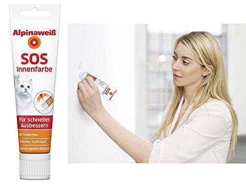 Alpinaweiß SOS Innenfarbe 100 ml Tube mit Schwamm zum Ausbessern an der Wand