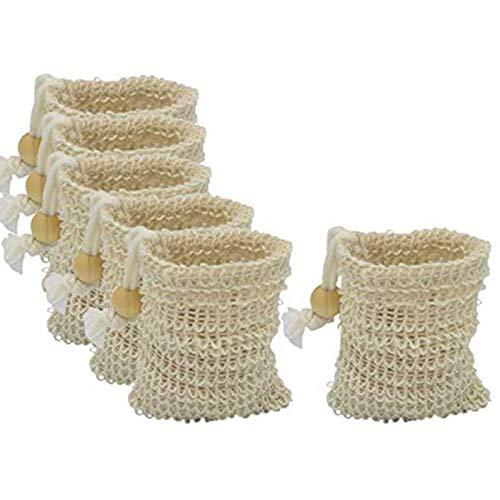CUHAWUDBA 6Pcs Seife Aufbewahrung Tasche, 100% NatüRlich, Peeling, mit Kordelzug und Holz Perlen Halter