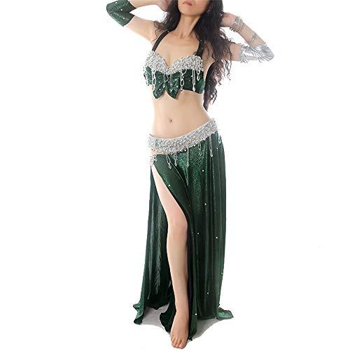 Yinglihua Bauchtanz Kleid Frauen Bauchtanz Kostüm BH Top Büste und Hüfttuch 1 Größe 4 Farben Damentanzkostüm (Farbe : Grün, Größe : M)