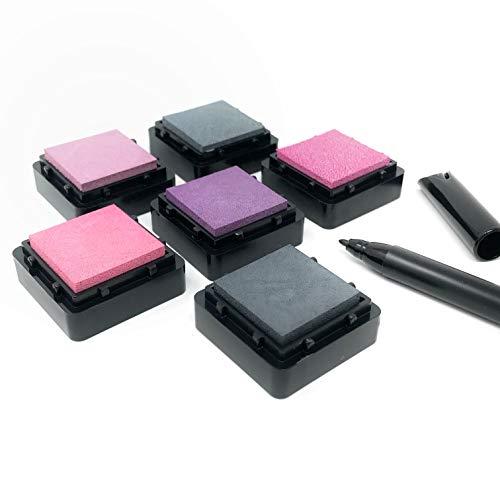 KATINGA Stempelkissen (6er Set) ROMANTIK mit Stift für Fingerabdrücke, zum Basteln und zum kreativen Gestalten (6er ROMANTIK)