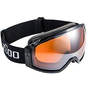 EzGoo Skibrille Snowboardbrille Schneebrille für Damen und Herren mit Anti-Fog, UV-Schutz, Sphärisch Rahmenlos Magnet Linse (Schwarz), OTG Rahmen (Orange), Helm Brille Kompatible Ski Goggles