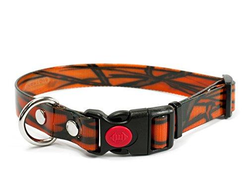 Mystique Biothane Safety Klick Halsband camo orange gold, Größe: 19mm x 30-40cm