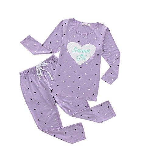 MyFav Girls' Comfy Sleepwear Hearts Shape Pyjama Set Sweet Dream Leisure Nighty