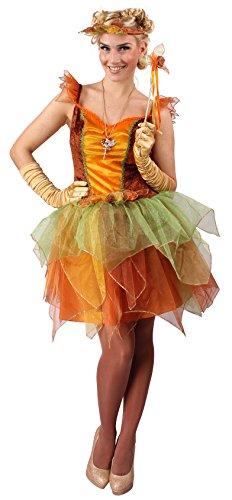 �r Damen in Orange, Kleid, Stab & Haarschmuck | Größe 44 / 46 | Zauberhaftes Feen-Kostüm für Karneval oder Fasching | Elfen-Kostüm Märchen-Outfit | Verkleidung für Erwachsene (Tinkerbell Outfit Erwachsene)