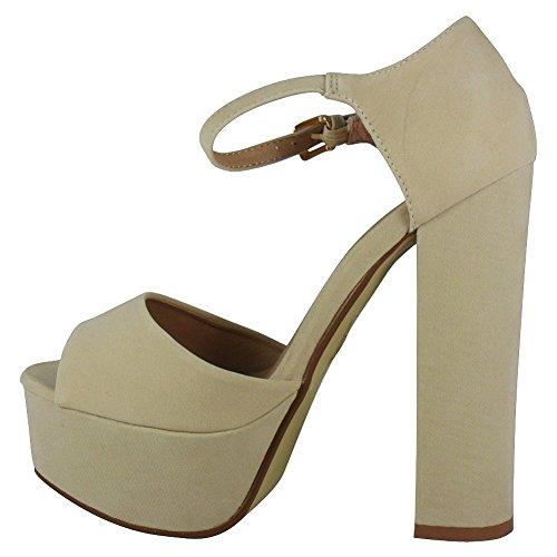 Loudlook Nouveau Femmes Dames Suede Peeptoe Haut Plate-Forme De Bloc Chaussures De Soir¨¦e De Sandales ? Talons Taille 3-8 NUDE SUEDE