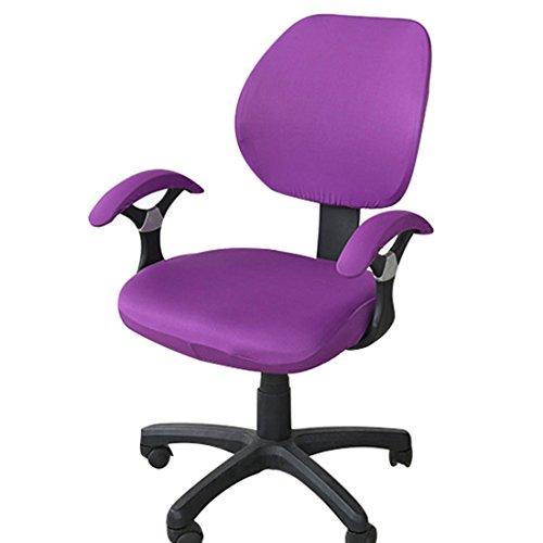 Enerhu Housse de Chaise de Bureau Elastique Couleur Unie Décoratif Violet