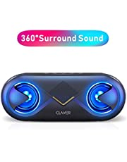 Clavier Supersonic Portable Bluetooth Speaker, Bluetooth 5.0 Wireless Speakers with 10W HD Sound and Rich Bass, 12H Playtime, Built-in Mic for iPhone & Android - Black