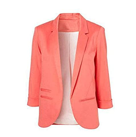 LuShmily Stylish Foldable Sleeve Blazer 3/4 Length Turn Up Sleeves Collection Peach M