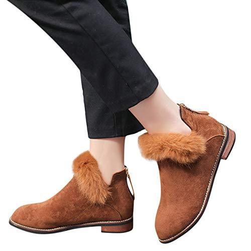 OSYARD Damen Martin Stiefel Ankle Stiefeletten Flache Boots Oversize Wildleder Flandell, Frauen Mode Shoes Plüsch Schuhe Einfarbig Martin Bootie Kurze Stiefel Chelsea Boots (235/38, Braun)