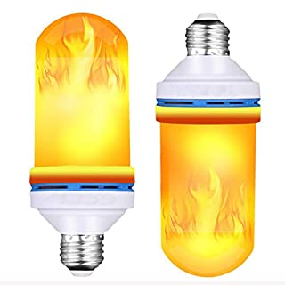 LED Flame Bulb, Flame Effect Fire Light Bulbs E27, 4 Modes with Upside Down Effect LED Flickering Flame Light Bulb for Halloween Christmas Home Garden Decorations (2 PCS)