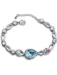Jewels Galaxy Crystal Elements Sparkling Multicolor Rose Designer Platinum Plated Glorious Adjustable Bracelet...