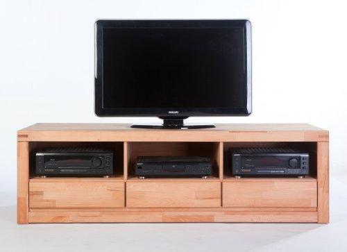 TV Lowboard XL Sylt Kernbuche massiv mit Ablagefach und 3 Schubkästen Oberfläche lackiert