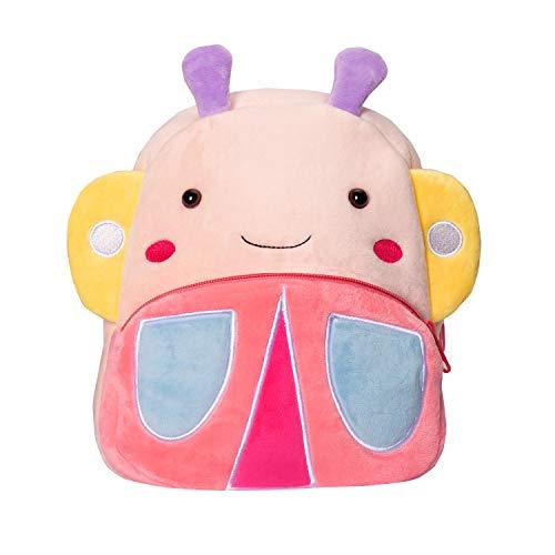 Cassiecy Plüsch Tier Kinder Rucksack Netter Cartoon Einsteigerrucksack Kinder Tasche für Baby Jungen Mädchen 1-3 Jahre (Schmetterling)