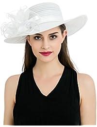 Dantiya - Chapeau Femme en Anti-soleil Floral en Mousseline de soie Elégante Mariage Cérémonies