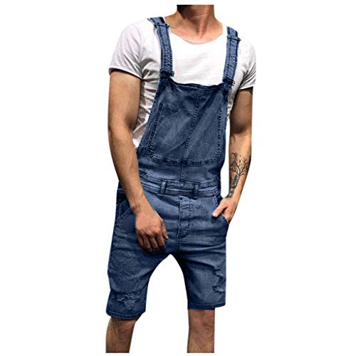 6076e934db426d JUTOO Men's Overall Casual Jumpsuit Jeans Wash Broken Pocket Trousers  Suspender Pants(Blue,Medium