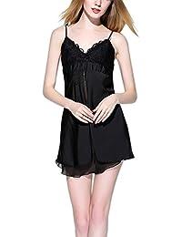 Feoya - Ropa de Dormir Ropa de Noche Suave Pijama con encaje de Mujer Escote en V - Negro Rosa Champán - Talla Única